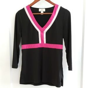 LOFT | S black pink & white tunic top 3/4 sleeve